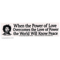 Jimi Hendrix - Power of Love Bumper Sticker on Sale for $2.99 at HippieShop.com
