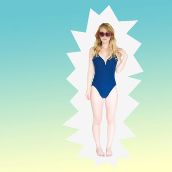 Navy Plunge One-Piece Swimsuit