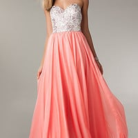 Jeweled Strapless Long Prom Dress