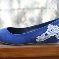 Blue ballet flat/low wedge bridal