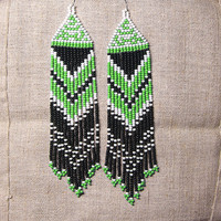 Native American Beaded Earrings  Inspired. White Black Green Earrings. Dangle  Earrings.Long Earrings.  Beadwork.