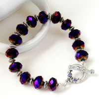 Purple Metallic Crystal Bracelet, Faceted Sparkly Silver Swarovski Toggle Clasp Beaded Bracelet