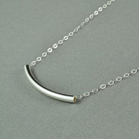 Smooth Curved Tube Necklace 925 Sterling by WonderfulJewelry