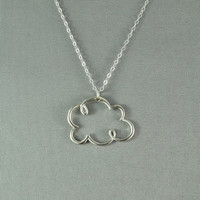Rain Cloud Necklace 925 Sterling Silver Modern by WonderfulJewelry
