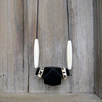 Tribal Bone and Wood Necklace/Black and White Necklace