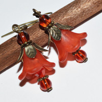 Red flower earrings » Craftori