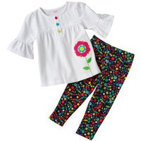 Carter's White Top and Floral Leggings 2 Piece Pants Set