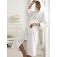 Royal Resort Collection: Luxury Hooded Robe - Terry Velour BathRobe, 100% Turkish Cotton, Color: Pure White, Unisex, Size: Universal / L