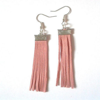 Leather Earrings- Pink Leather- Leather Tassel Earrings- Tassels- Surgical Steel Earrings- Pink Earrings- Dangle Earrings- Fabric Earrings