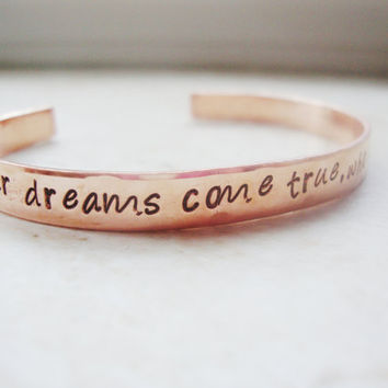 One Tree Hill quote who is standing next to you true love copper hand stamped bracelet
