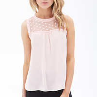FOREVER 21 Ruffled Lace Insert Top White Large
