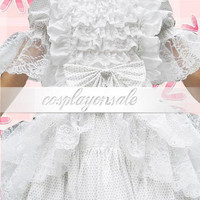 Lolita Costumes White Short Sleeves Bow Ruffles Cotton Lolita Dress [T110685] - $74.00