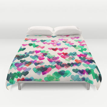 Heart Connections II - watercolor painting (color variation) Duvet Cover by micklyn