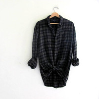 Vintage black and green Plaid Flannel / Grunge Shirt / cotton button up shirt