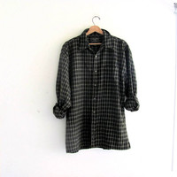 Vintage green wool Flannel / Grunge Shirt / button up shirt