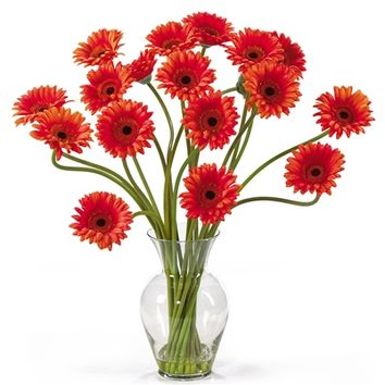 SheilaShrubs.com: Orange Gerber Daisy Liquid Illusion Silk Flower Arrangement 1086-OR by Nearly Natural : Artificial Flowers & Plants