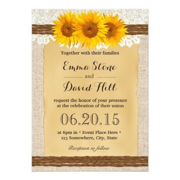 Country Twine Lace Burlap Sunflowers Wedding