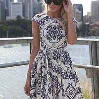 PAISLEY PRINT DRESS , DRESSES, TOPS, BOTTOMS, JACKETS & JUMPERS, ACCESSORIES, 50% OFF SALE, PRE ORDER, NEW ARRIVALS, PLAYSUIT, GIFT VOUCHER,,White,Print Australia, Queensland, Brisbane