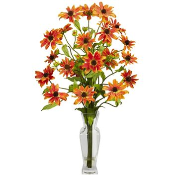SheilaShrubs.com: Orange Cosmos w/Vase Silk Flower Arrangement 1172-OR by Nearly Natural : Artificial Flowers & Plants