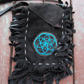 Leather Purse With Hand Embroidered Seed Of Life Patch - OOAk