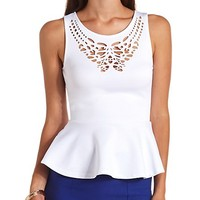 SLEEVELESS LASER CUT-OUT PEPLUM TOP