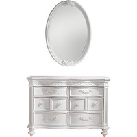 Disney Princess White Dresser Oval Mirror Set