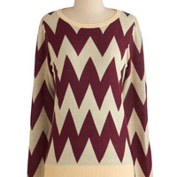 ModCloth Mid-length Long Sleeve Zigzagology Sweater