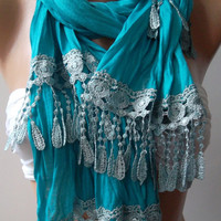 Turquoise Blue and Elegance Shawl / Scarf by womann on Etsy,,