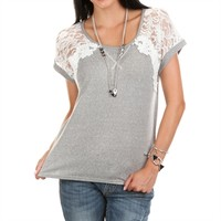 Miss Me Women's Contemporary Knit Top with Lace Sleeves at Von Maur
