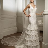 V Neck Embroidery Lace Court Mermaid Bridal Gown Wedding Dress
