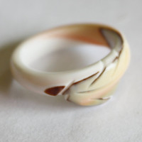 Vintage Carved Celluloid Ring 1960s Jewelry