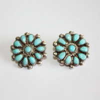 Sterling Turquoise Earrings Zuni Petit Point Native American 1960s  Jewelry