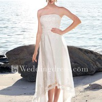 Strapless A-Line Tulle over Satin High-Low Beach Wedding Dress