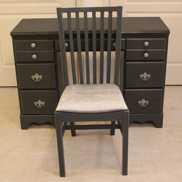 Regal French Provincial desk and chair set, hand-painted in Annie Sloan Graphite chalk paint, silver velvet upholstery