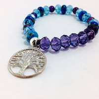 Tree if Life Bracelet, Crystal Bracelet, Healing Bracelet, Gemstone Bracelet, Yoga Inspired, Yoga Jewelry: Amethyst and Imperial Jasper