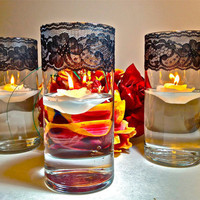 Floating Candle Votive Holders  Black Lace Trim by UproarDecor
