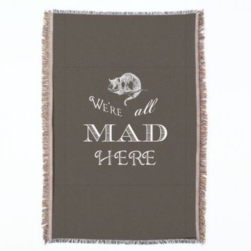 Cheshire Cat Mad Brown Throw Blanket