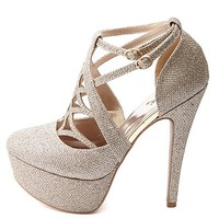 Qupid Cut-Out Caged Glitter Platform Pumps