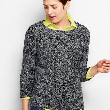 Women's 3/4-sleeve Lofty Cotton Cable Open Crewneck Marl Sweater from Lands' End
