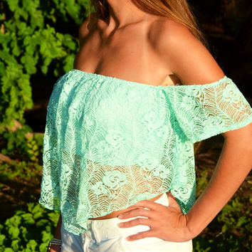 Mint Cold Shoulder Crop Top