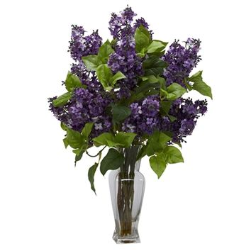 SheilaShrubs.com: Purple Lilac Silk Flower Arrangement 1256-PP by Nearly Natural : Artificial Flowers & Plants