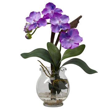 SheilaShrubs.com: Purple Mini Vanda w/Fluted Vase Silk Flower Arrangement 1276-PP by Nearly Natural : Artificial Flowers & Plants