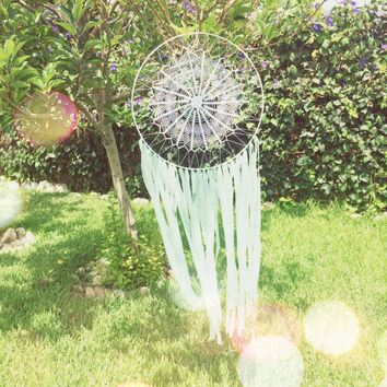 Mint & White Crochet Doily Fabric Dream Catcher