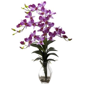 SheilaShrubs.com: Purple Dendrobium Orchid w/Vase Arrangement 1292-PP by Nearly Natural : Artificial Flowers & Plants