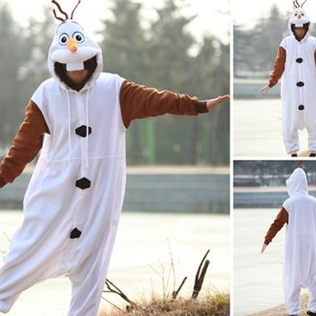 Frozen Olaf Adult Men Women Unisex Animal Sleepsuit Kigurumi Cosplay Costume Pajamas Outfit Nonopnd Nightclothes Onesuits Halloween Cheap Costume Clothing (S(151CM-161CM))