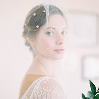 "Romantic soft blusher veil with scattered detailing and pearls ""Campbell"""