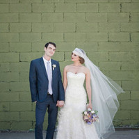 "Wedding Juliet Cap Veil with lace detail in off white ""Lillian"""