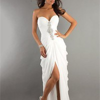 Corset Sweetheart Beaded with front slit sweep train prom Dress PD1901