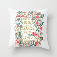 Little & Fierce Throw Pillow by Cat Coquillette | Society6