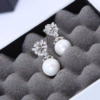 Women's Rhodium Plated Alloy Earrings with White CZ Micropave Setting-Icy Flower and Pearls W4667A 0730J